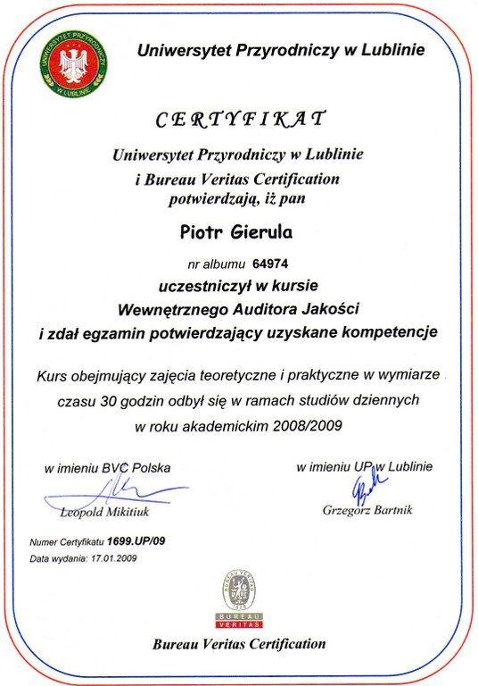 Certifikat Audytora Wewnętrznego