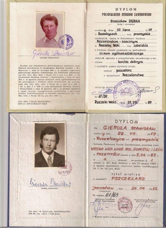 Tytuł Mistrza Pszczelarza Stanisław Gierula