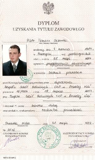 Dyplom Technika Pszczelarza